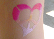 Heart Peace Sign Airbrush Tattoo